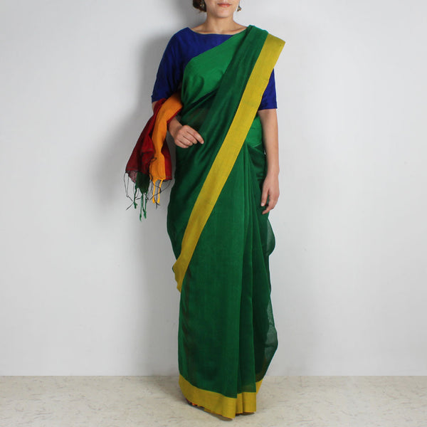 Green Handwoven Khadi Silk Saree With Green & Yellow Border