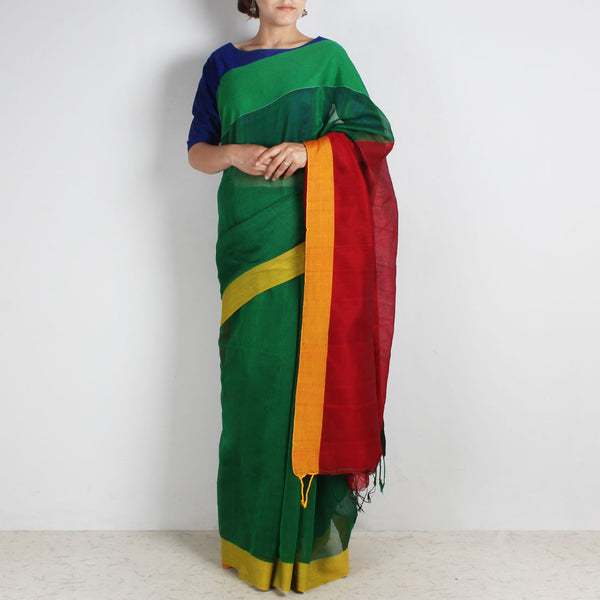 Green Handwoven Khadi Silk Saree With Green & Yellow Border by Reubenbright Clothing