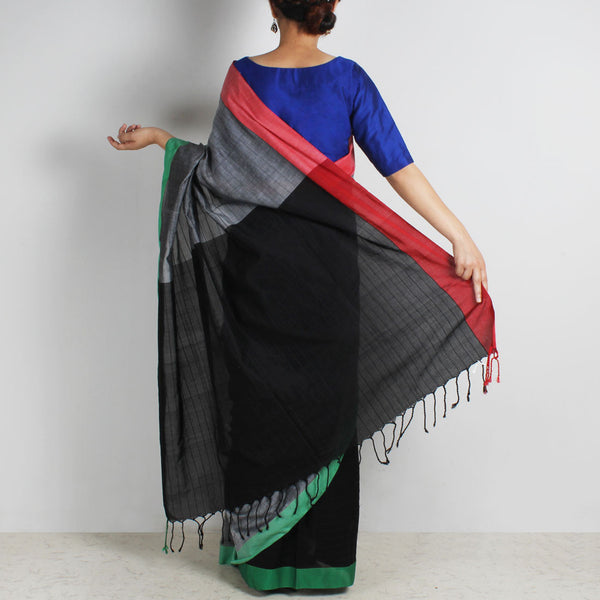 Black & Grey Handwoven Cotton Saree With Red & Green Border