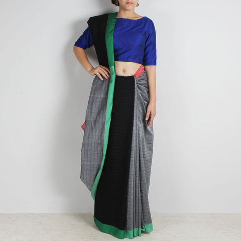 Black & Grey Handwoven Cotton Saree With Red & Green Border by Reubenbright Clothing
