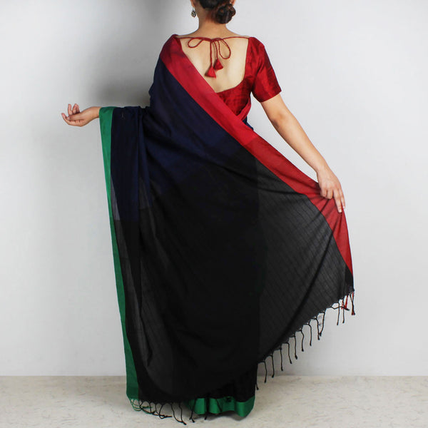Indigo & Black Handwoven Cotton Saree With Red & Green Border