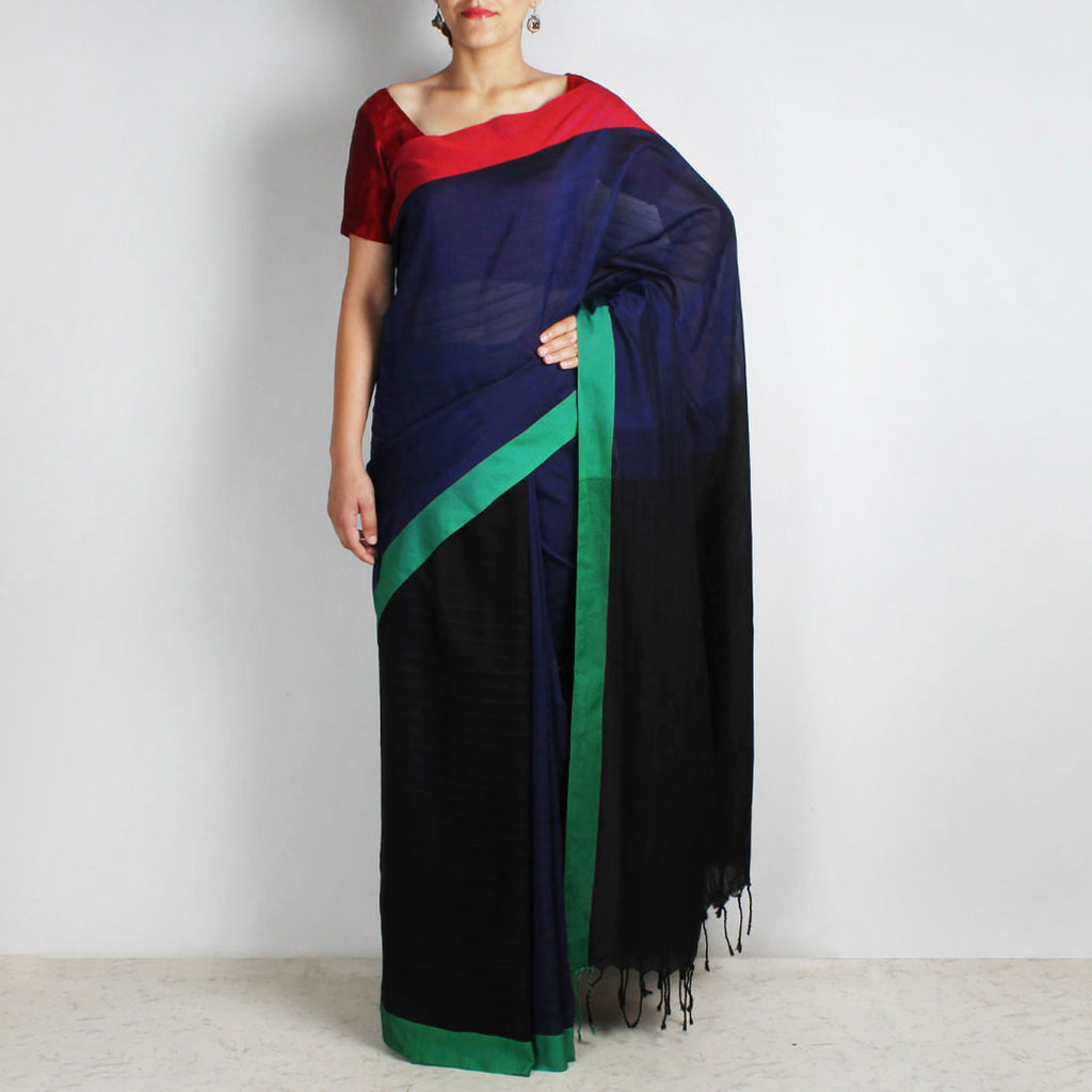 Indigo & Black Handwoven Cotton Saree With Red & Green Border by Reubenbright Clothing