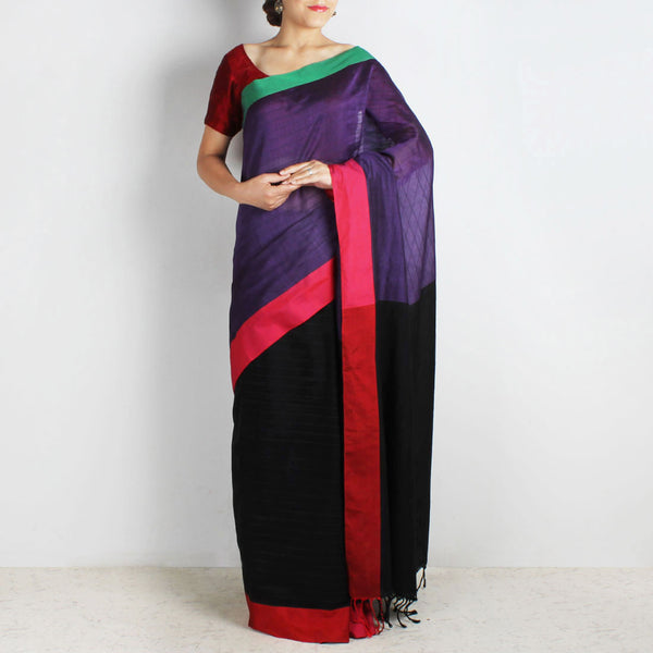 Purple & Black Handwoven Cotton Saree With Red & Green Border by Reubenbright Clothing