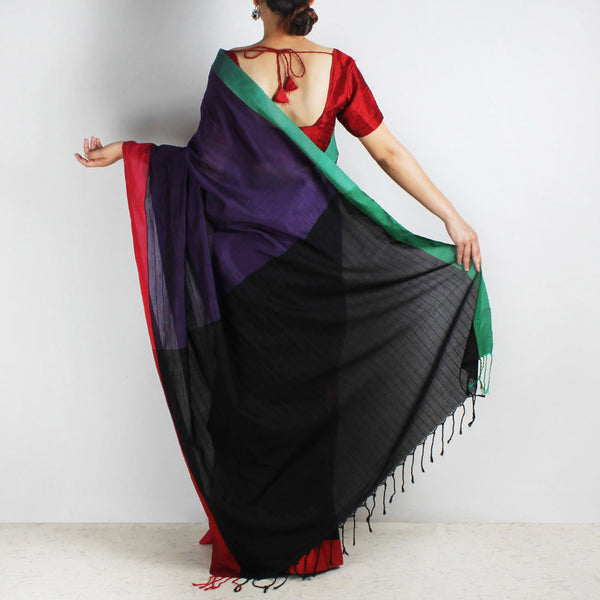 Purple & Black Handwoven Cotton Saree With Red & Green Border