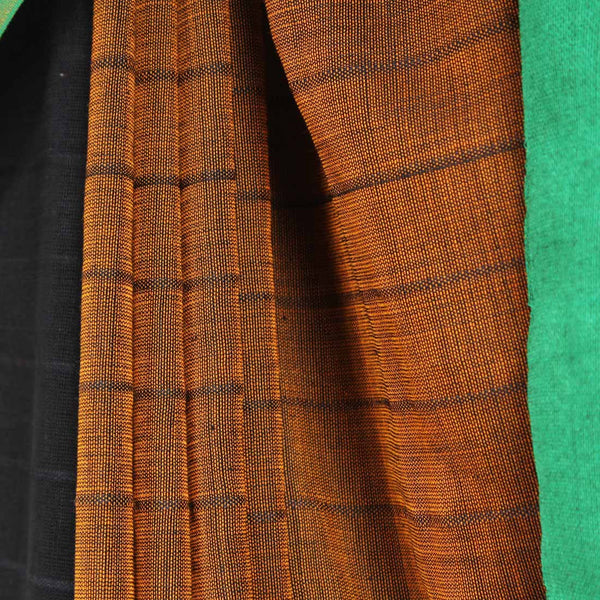 Brown & Black Handwoven Cotton Saree With Red & Green Border