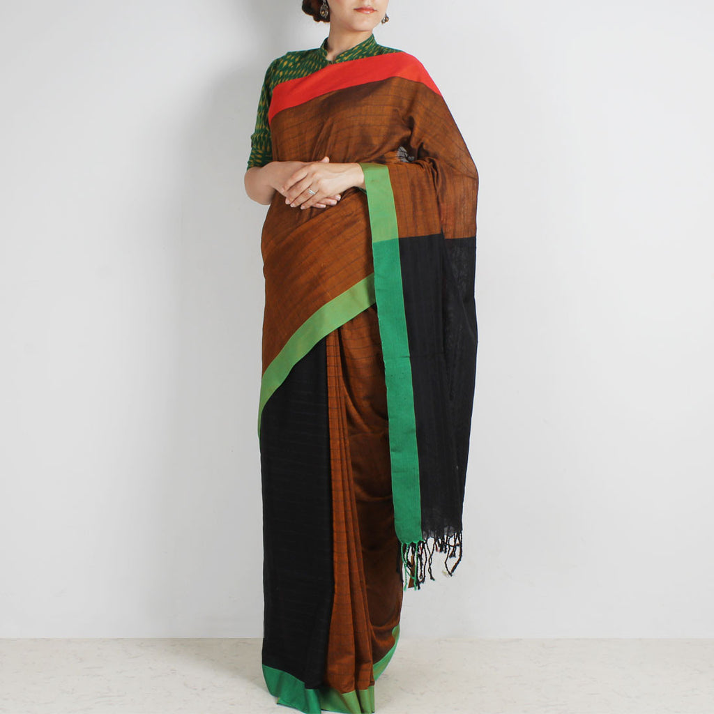 Brown & Black Handwoven Cotton Saree With Red & Green Border by Reubenbright Clothing