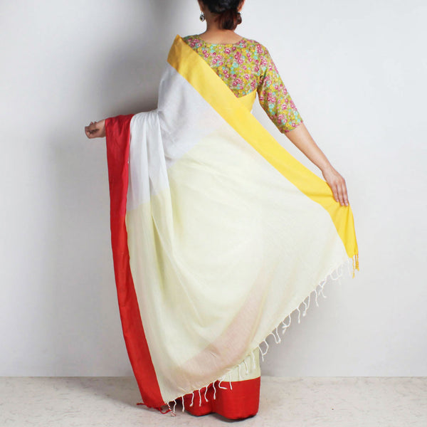 Yellow & White Handwoven Cotton Saree With Red & Yellow Border