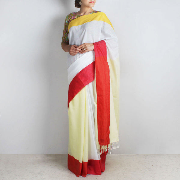 Yellow & White Handwoven Cotton Saree With Red & Yellow Border by Reubenbright Clothing