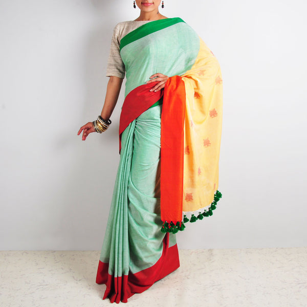 Green Butterfly Motif Saree