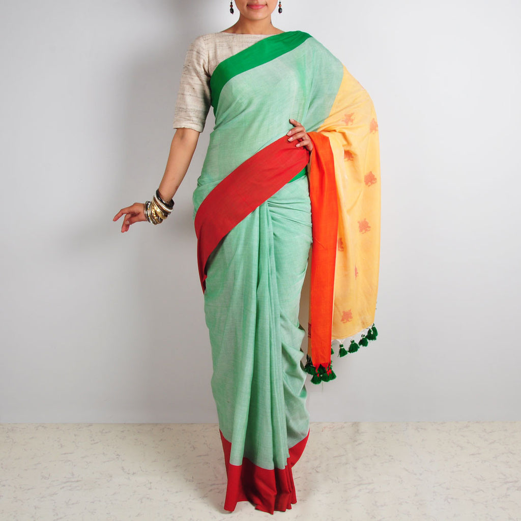 Green Butterfly Motif Saree by Reubenbright Clothing