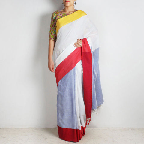 Blue & White Handwoven Cotton Saree With Red & Yellow Border by Reubenbright Clothing