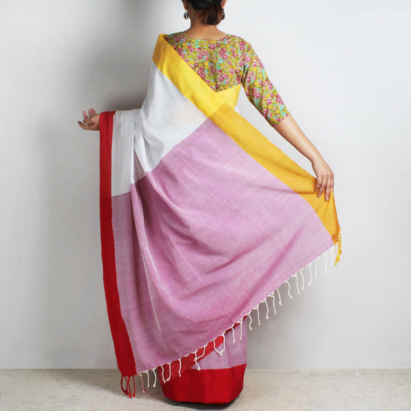 Lavender & White Handwoven Cotton Saree With Red & Yellow Border