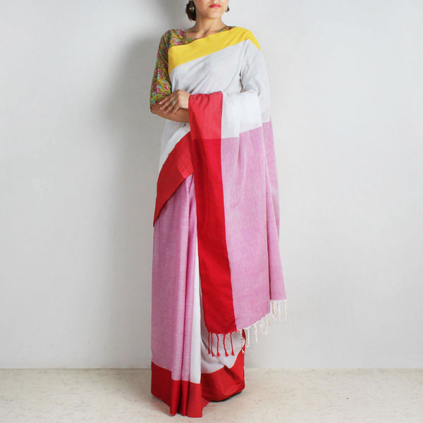 Lavender & White Handwoven Cotton Saree With Red & Yellow Border by Reubenbright Clothing