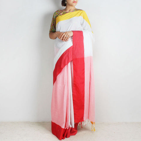 Pink & White Handwoven Cotton Saree With Red & Yellow Border by Reubenbright Clothing