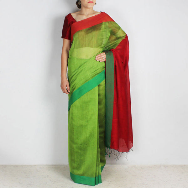 Green Handwoven Cotton Silk Saree With Red & Green Border by Reubenbright Clothing