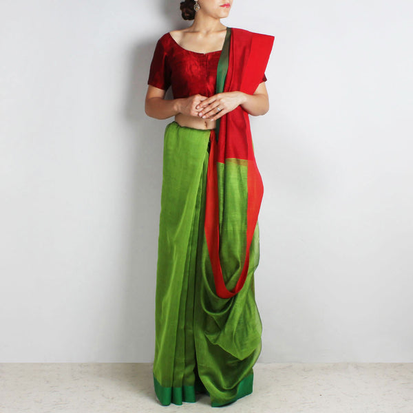 Green Handwoven Cotton Silk Saree With Red & Green Border