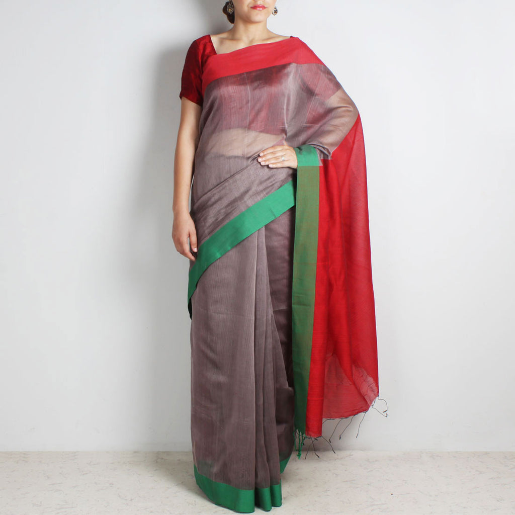 Grey Handwoven Cotton Silk Saree With Red & Green Border by Reubenbright Clothing