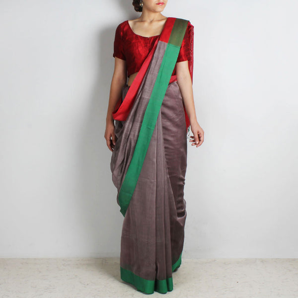 Grey Handwoven Cotton Silk Saree With Red & Green Border