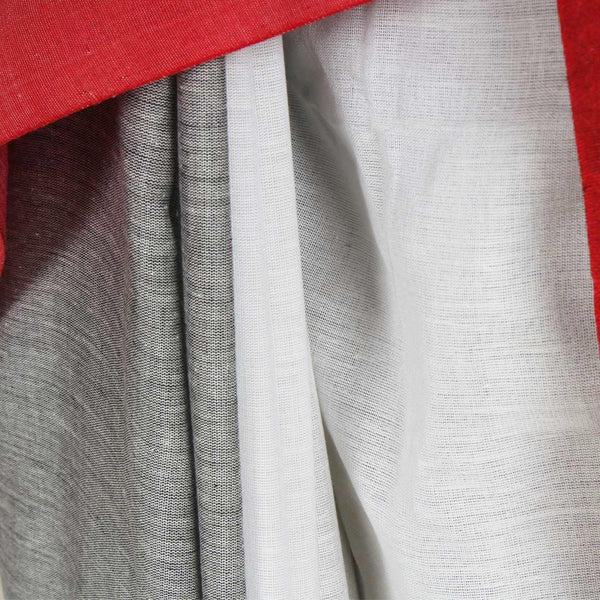Grey & White Handwoven Cotton Saree With Red & Yellow Border