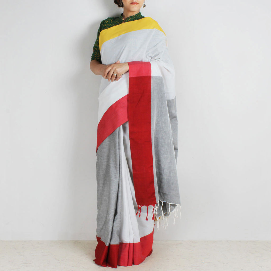Grey & White Handwoven Cotton Saree With Red & Yellow Border by Reubenbright Clothing