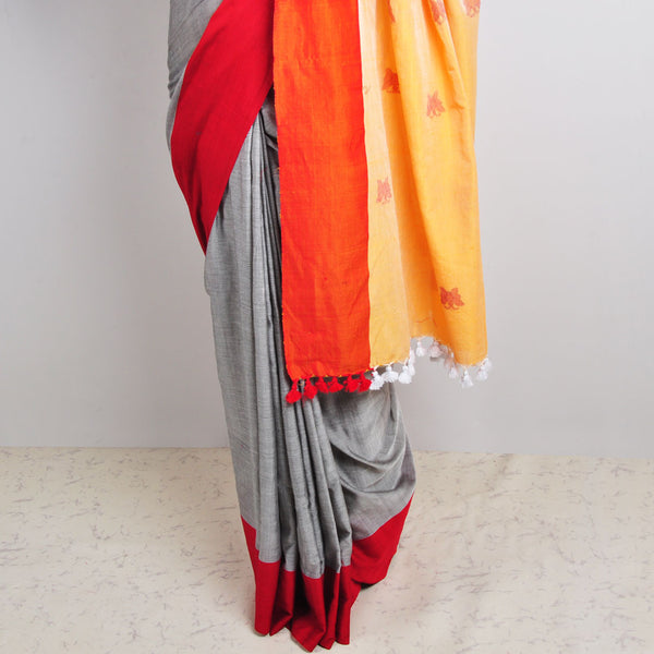 Grey Butterfly Motif Saree
