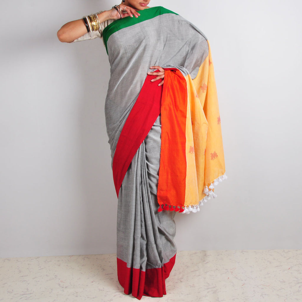 Grey Butterfly Motif Saree by Reubenbright Clothing