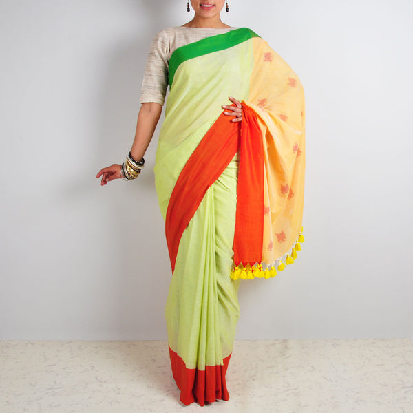 Lime Butterfly Motif Saree by Reubenbright Clothing