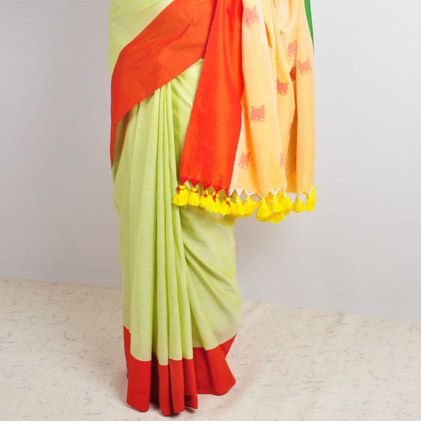 Lime Butterfly Motif Saree