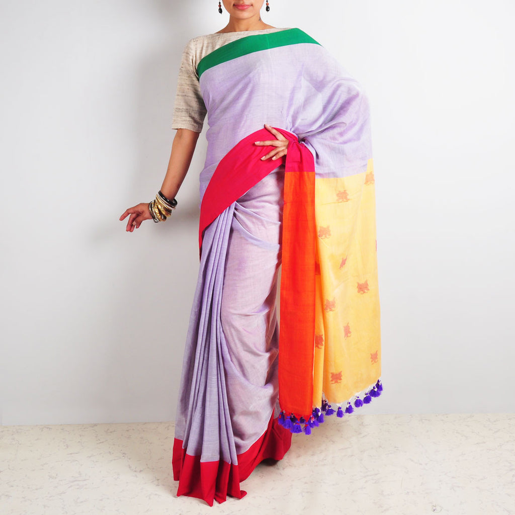 Purple Butterfly Motif Saree by Reubenbright Clothing
