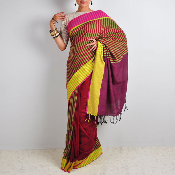 Striped Maroon Saree by Reubenbright Clothing
