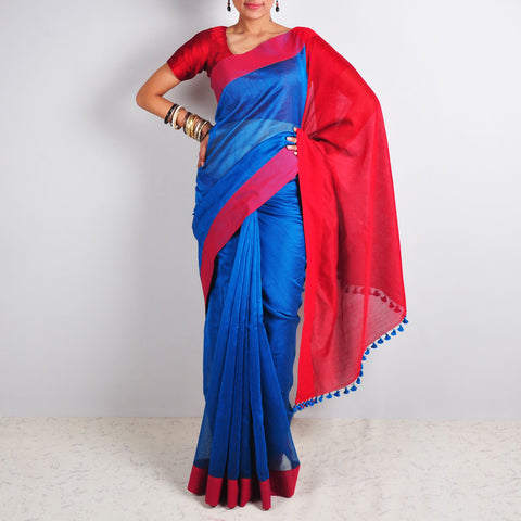 Blue & Red Saree by Reubenbright Clothing