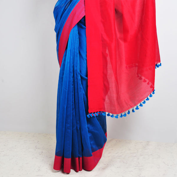 Blue & Red Saree