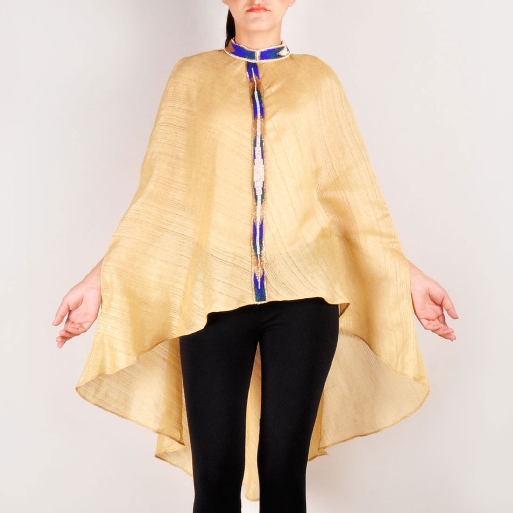 Gold Royale Cotton Jute Front Embellished Cape by Renee