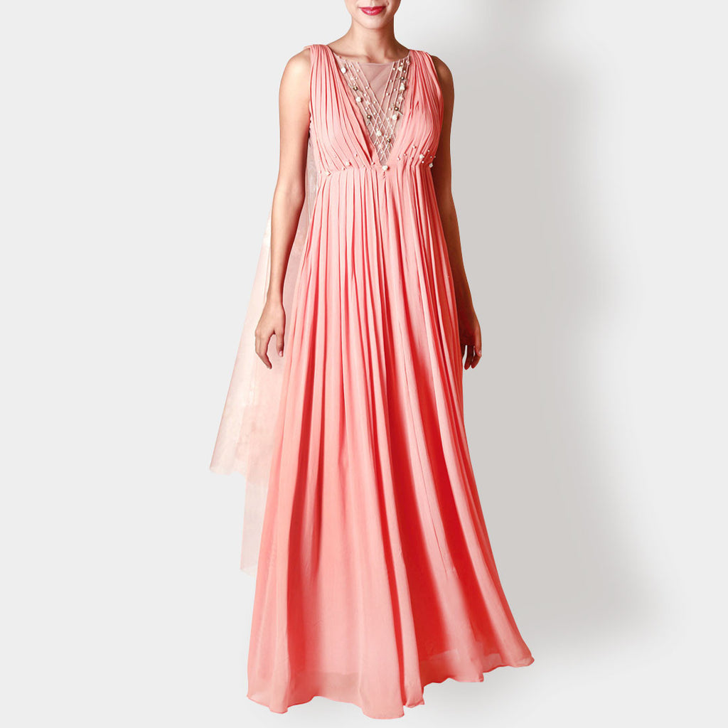 Viscose Georgette Pleated Rose Carnation Gown by Rene
