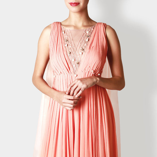 Viscose Georgette Pleated Rose Carnation Gown