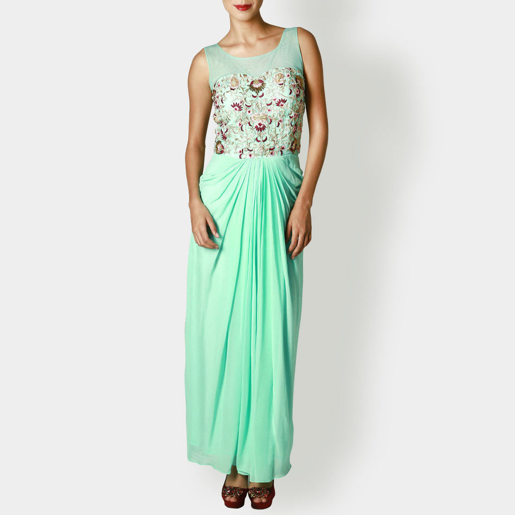 Mint Georgette Draped Gown With Jaal Embroidery by Rene