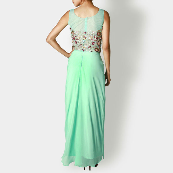 Mint Georgette Draped Gown With Jaal Embroidery