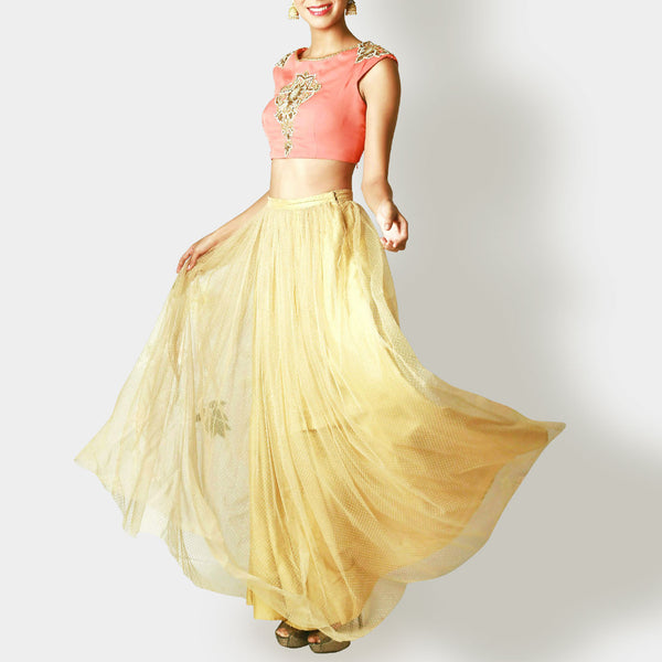 Coral Crop Top With Gold Tulle Skirt
