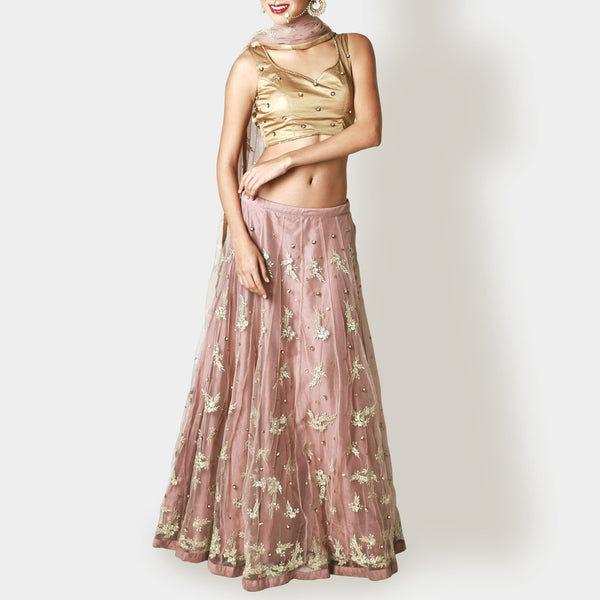 Dust Pink And Gold Floral Lehenga Set