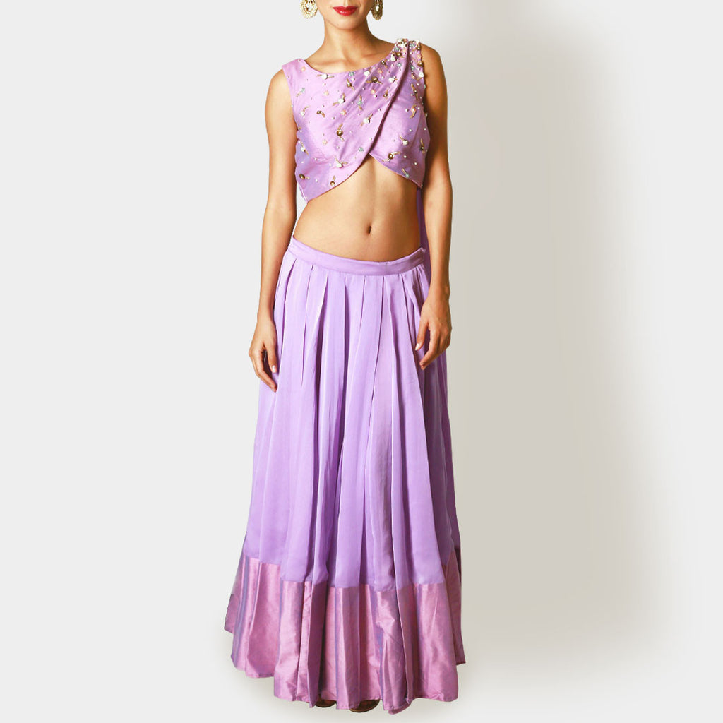 Lavender Cropped Blouse and Pleated Lehenga by Renee