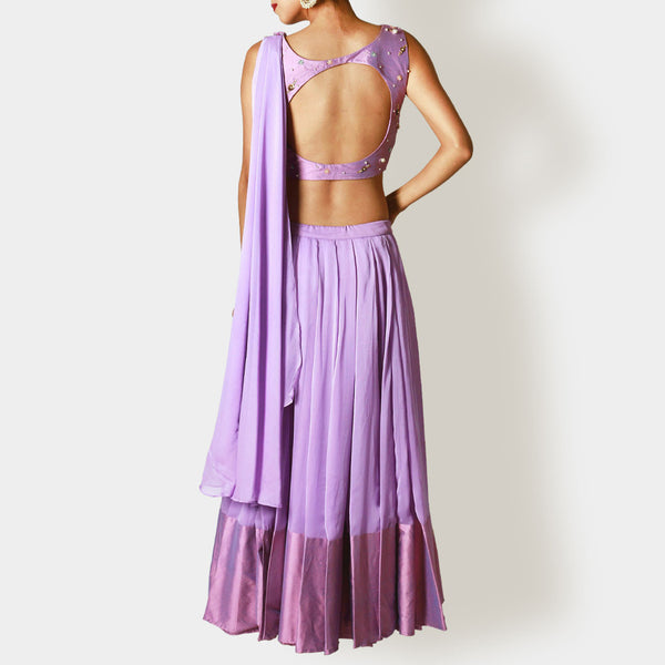 Lavender Cropped Blouse And Pleated Lehenga