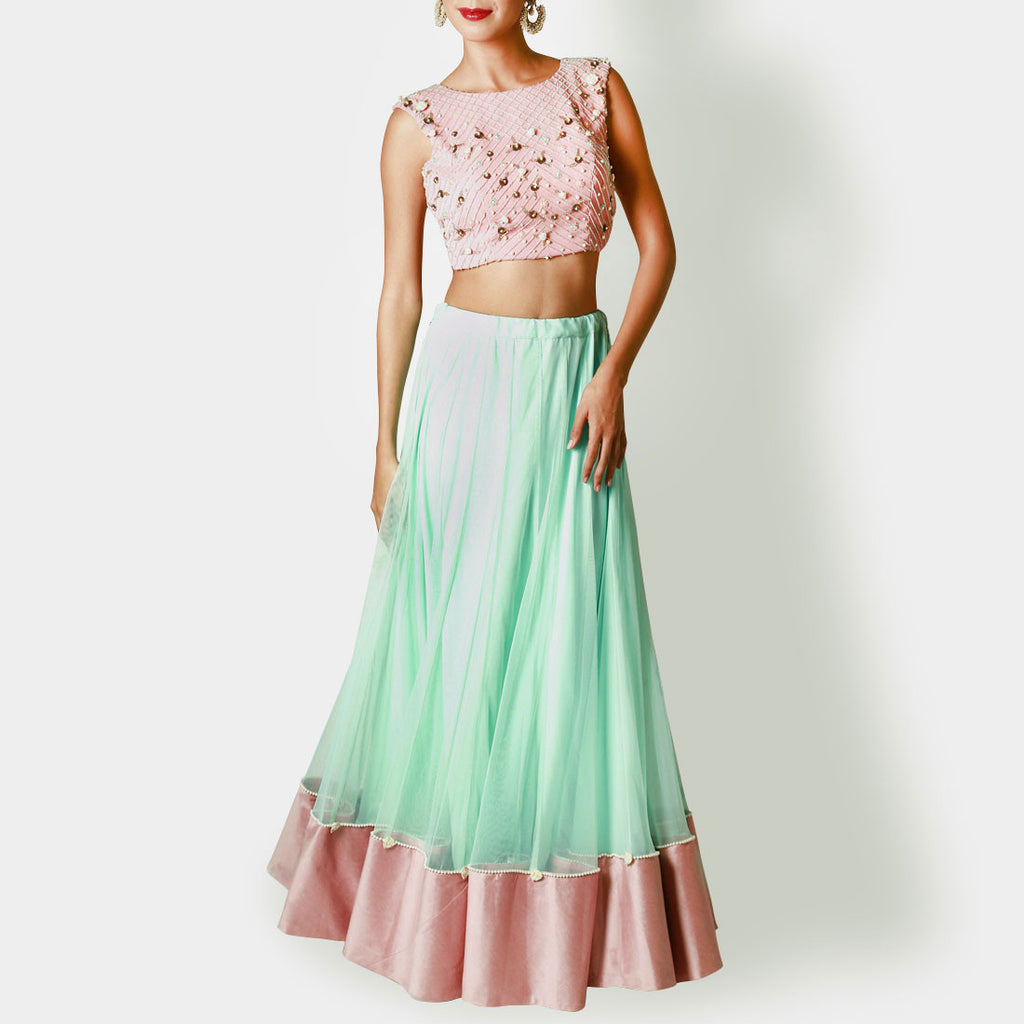 Blush Pink Crop Top with Mint Lehenga by Renee