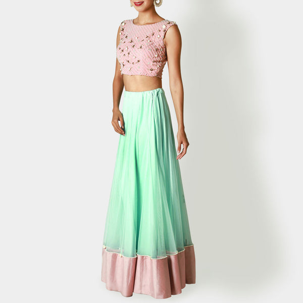 Blush Pink Crop Top With Mint Lehenga