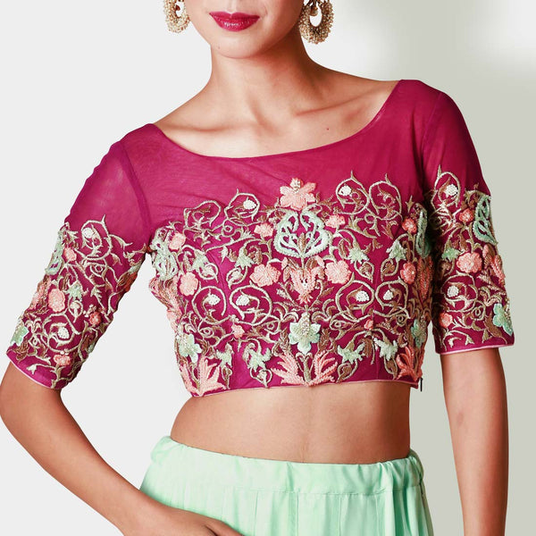 Wine Net Floral Crop Top With Mint Net Lehenga
