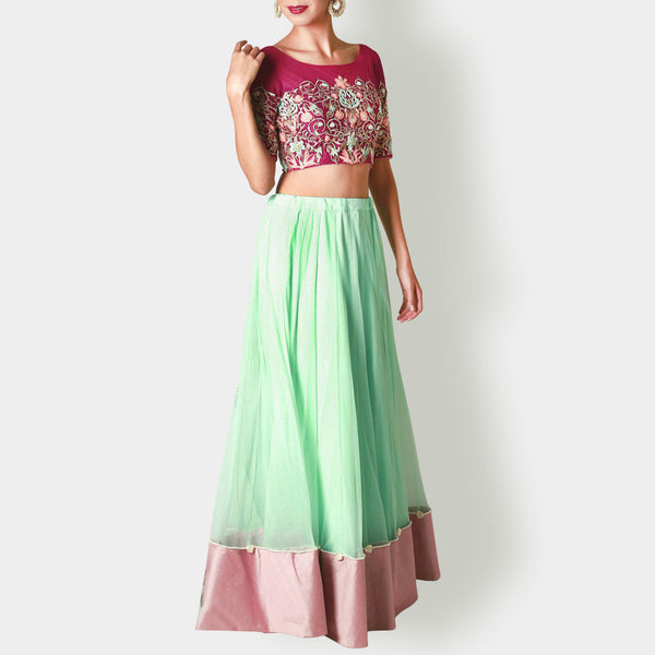 Wine Net Floral Crop Top with Mint Net Lehenga by Renee