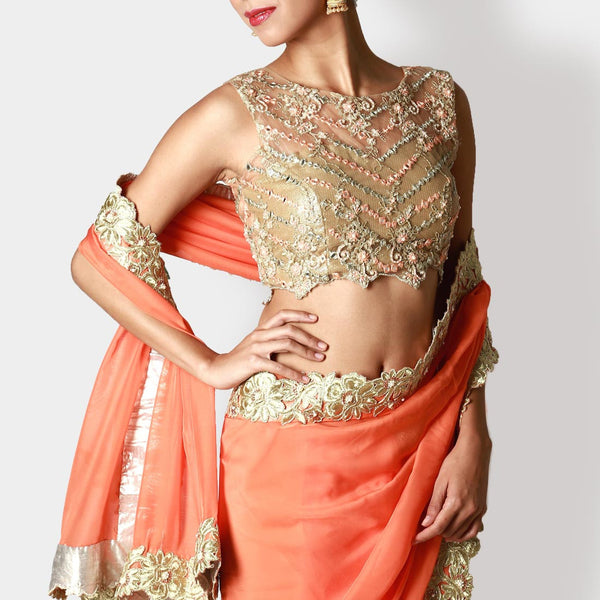 Gold Peach Net Blouse With Tangerine Sari