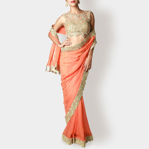 Gold Peach Net Blouse with Tangerine Sari by Rene