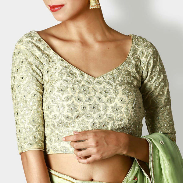 Pearl White Silk Blouse With Zari & Pistachio Georgette Sari