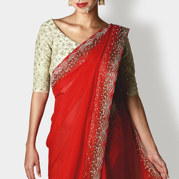 Pearl White Silk Blouse With Draped Chiffon Crimson Sari