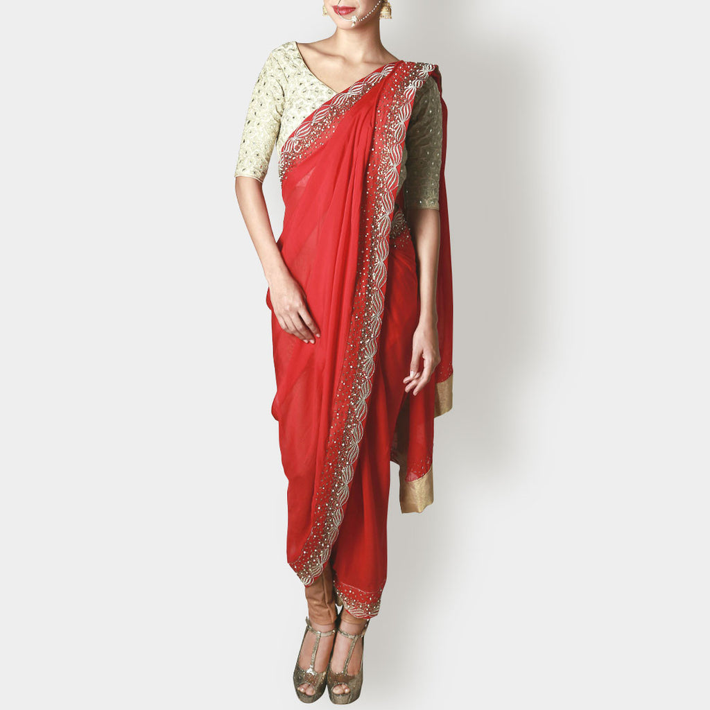 Pearl White Silk Blouse with Draped Chiffon Crimson Sari by Rene